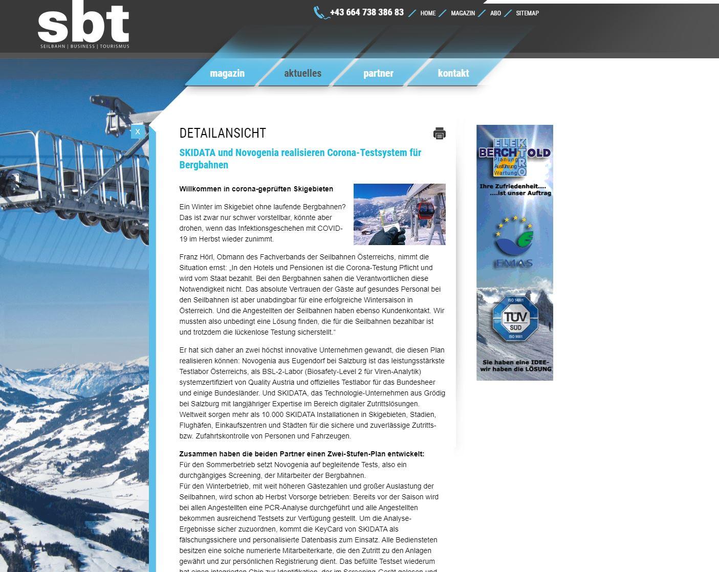 SKIDATA und Novogenia realisieren Corona-Testsystem für Bergbahnen